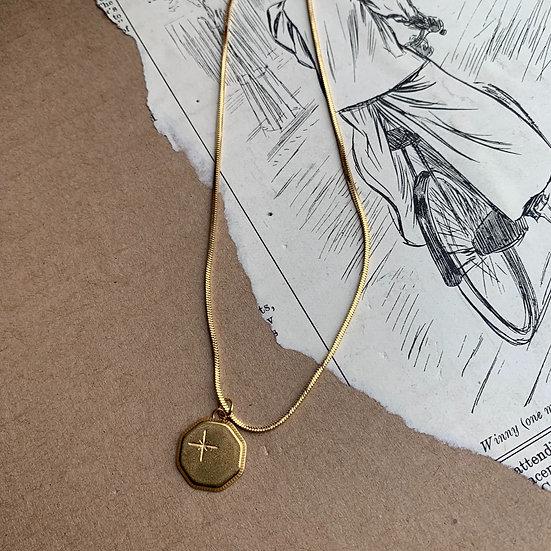 colar aço MEDALHA /CRUZ fio de  aço malha batida medalha aço