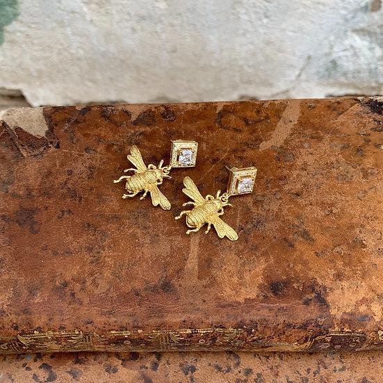 brincos zircão pendente abelhinha