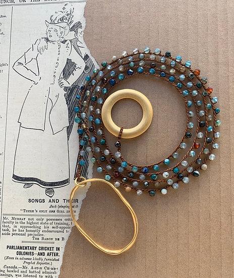 Colar handmade  fio de seda ágatas