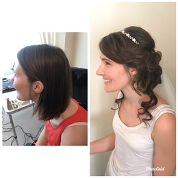 Hair extensions were used for fullness and length