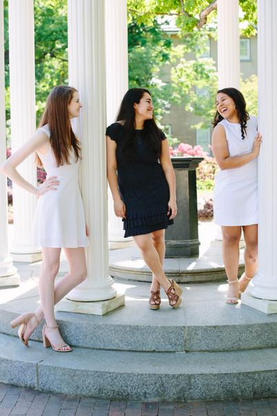 College Senior portrait of three women in Chapel Hill, NC at the University of North Carolina - Chapel Hill