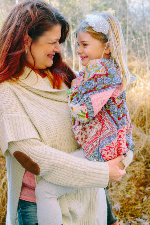 Mother daughter portrait during sunset in Raleigh, NC