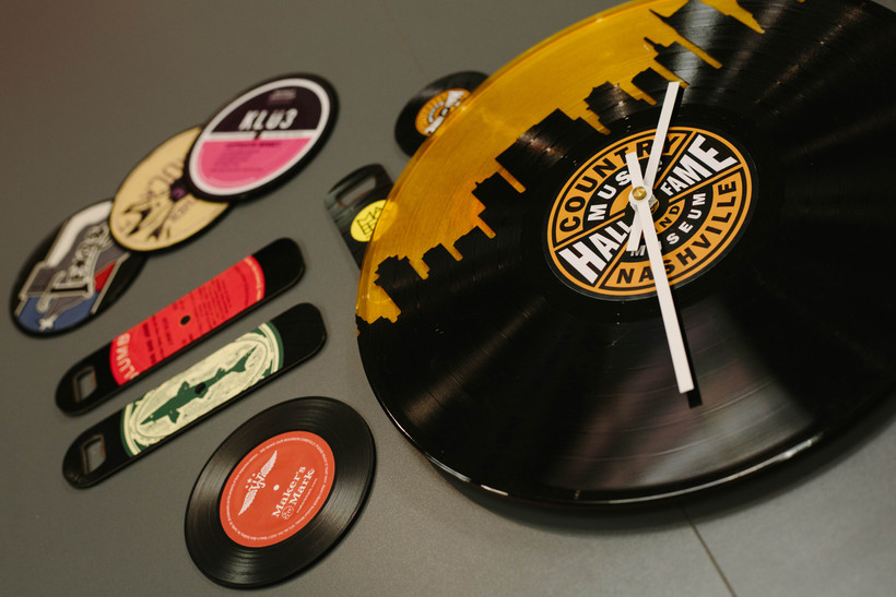 Brand photography for Brand Fuel showcasing promotional products made with upcycled vinyl records