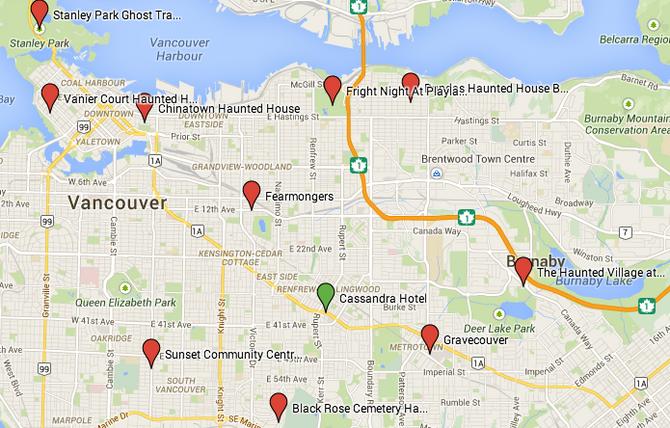 Haunted Houses Around Cassandra Hotel in Vancouver