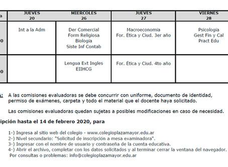 Comisiones Evaluadoras para alumnos regulares y previos Febrero 2020