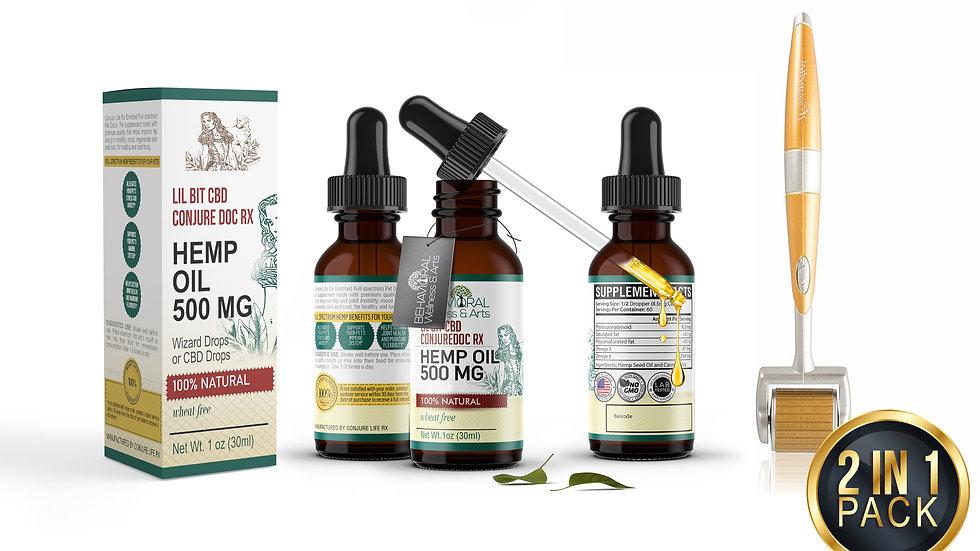 Derma Roller Wizard CBD Oil  Serum Acne Scar Deep Indented Wrinkle