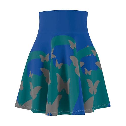 Kettlebell aquamarine butterfly Women's Skater Skirt 2