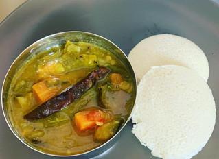 Chard-aubergine-carrot-green beans-lentil broth (sambhar) #vegan #glutenfree