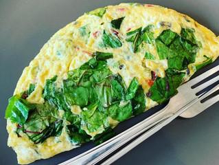 Chard-green beans folded omelette