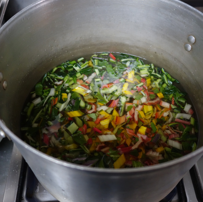 Boiling chard stems