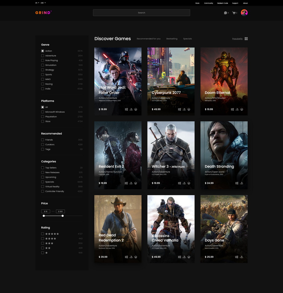 Grind - Online Game Shop