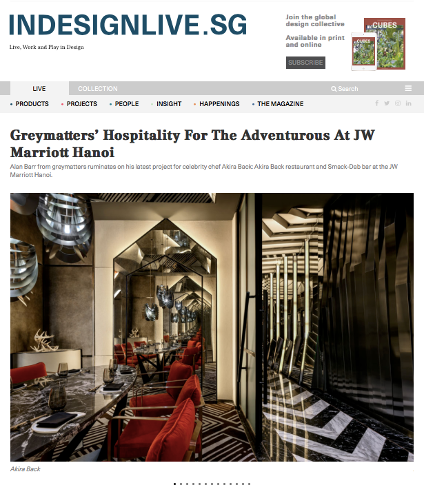 Indesignlive.sg: Greymatters' Hospitality For The Adventurous At JW Marriott Hanoi