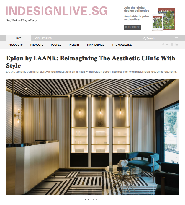 Indesignlive.sg: Reimagining The Aesthetic Clinic With Style