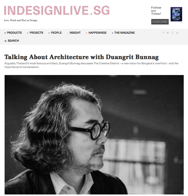 Indesignlive.sg: Talking About Architecture with Duangrit Bunnag