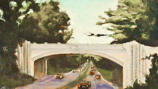 CWA Member Paricia Corbett, White Oak Shade Road Bridge, Oil on Canvas. A scene from New Canaan, Connecticut.