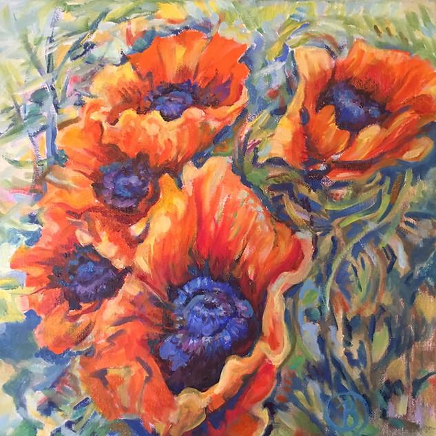 B. Rositto, Oriental Poppies, Oil on Canvas