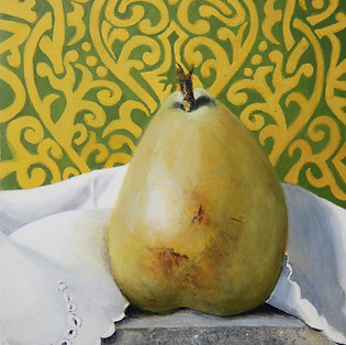 Marny Lawton, Pear on Granite 2, Egg Tempera