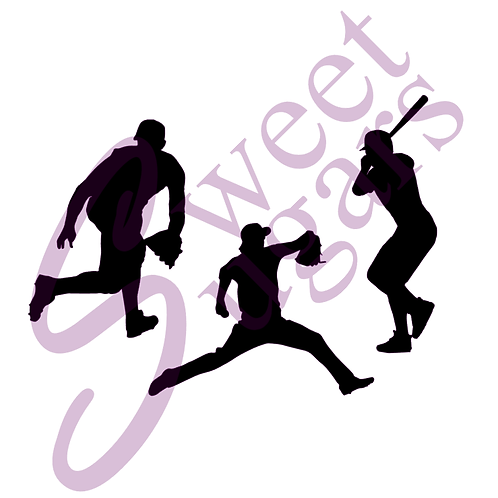 Baseball Player Silhouettes Silkscreen Stencils - 3 Options Available