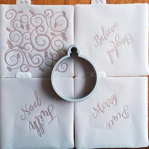 Ornament Cutter/Silkscreen Stencil Set Combo (4 Stencils)