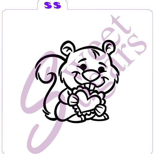 Squirrel with Heart PYO Silkscreen Stencil