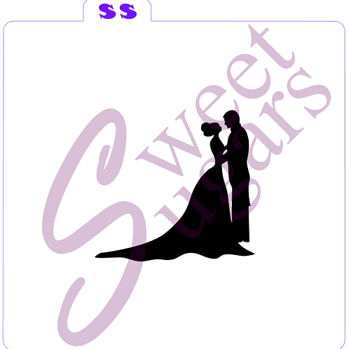 Wedding Couple Silhouette Silkscreen Stencil