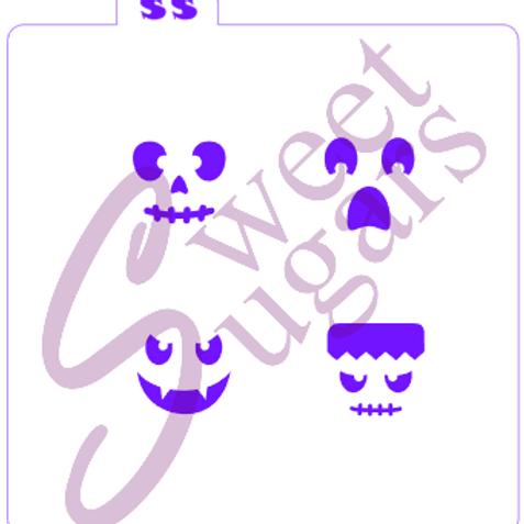 Jack-O-Lantern Mini Faces Stencil - Traditional or Silkscreen