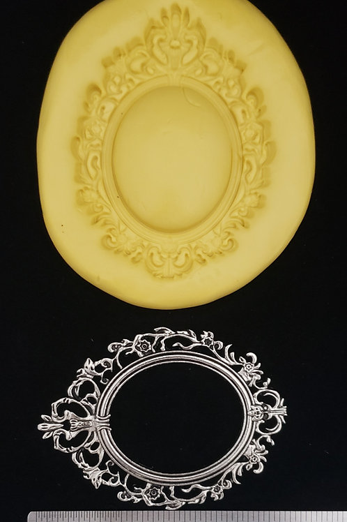 Ornate Baroque Oval Frame Mold & Blocker Set - For Fondant, Chocolate, and Clay