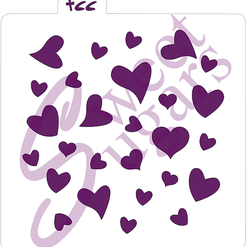Scattered Hearts Background Stencil - Traditional or Silkscreen