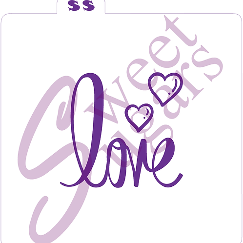 love With Hearts Silkscreen Stencil