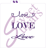 """Love"" Silkscreen Stencil - 3 designs on one stencil"