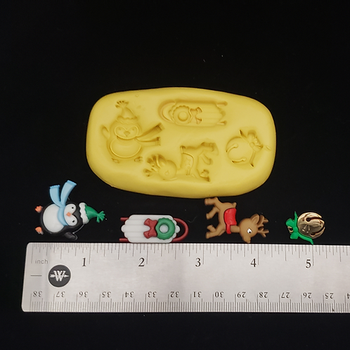 Penguin, Sled, Reindeer, Jingle Bell Mold for Fondant, Chocolate, & Clay, etc.