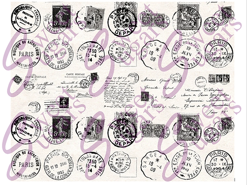 Vintage French Postmarks and Postcards Edible Wafer Paper Sheet