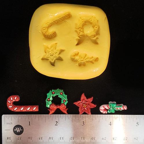 Mini Christmas Mold - Candy Canes, Wreath, Poinsettia for Fondant, Chocolate,etc