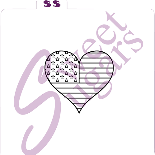 (WS) PYO Heart Flag 4th ofJuly Silkscreen Stencil