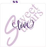 """love"" (cursive, curly) Silkscreen Stencil"