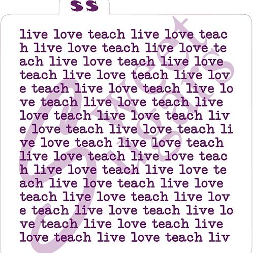 (WS) live love teach Typewriter Background Silkscreen Stencil