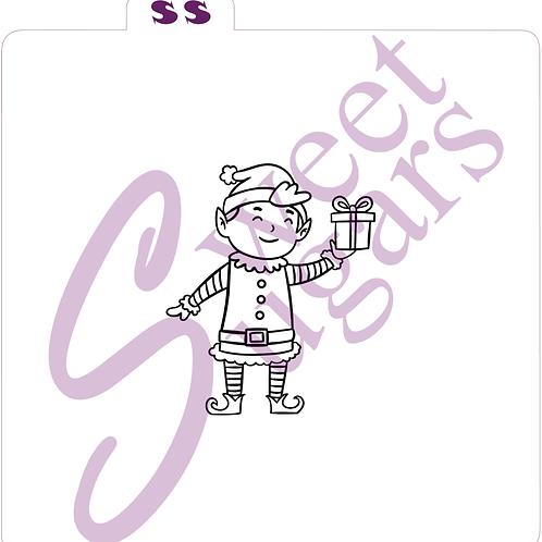 Elf with Present PYO Silkscreen Stencil