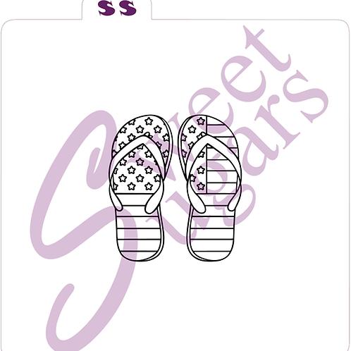 (WS) PYO 4th of July Flag Flip Flops Silkscreen Stencil