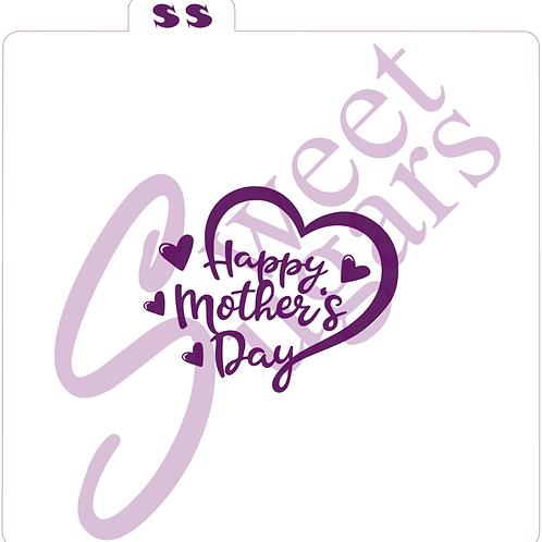 Happy Mother's Day Heart Silkscreen Stencil