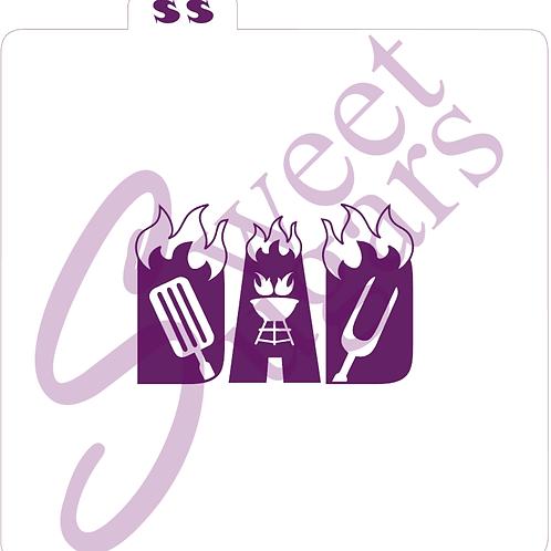 (WS) DAD  Flaming BBQ Silkscreen Stencil