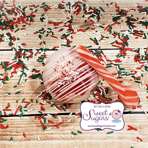 White Choc Candy Cane HCB with Peppermint Spoon - Mini or Regular