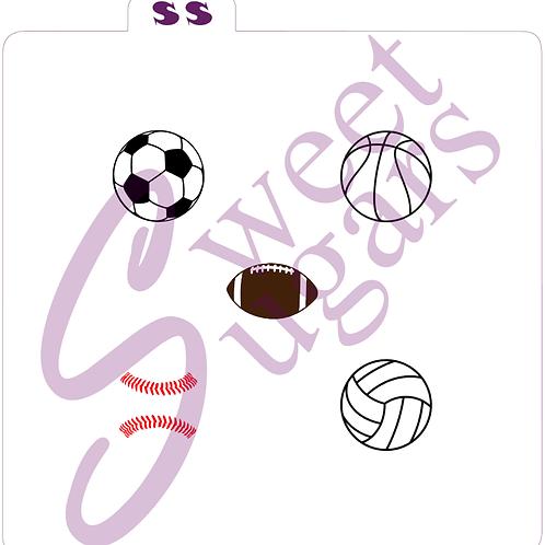 """1"""" Mini Sports Balls Silkscreen Stencil"""