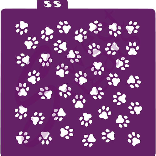 DOWNLOAD ONLY - Dog Paw Prints Background Stencil