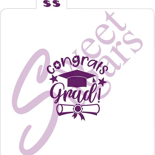 (WS) Congrats Grad, Cap & Diploma Silkscreen Stencil
