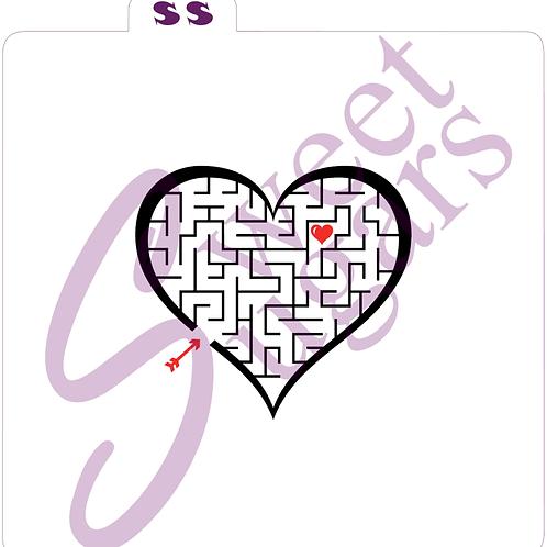 (WS) Heart Maze (1 or 2 part) Silkscreen Stencil
