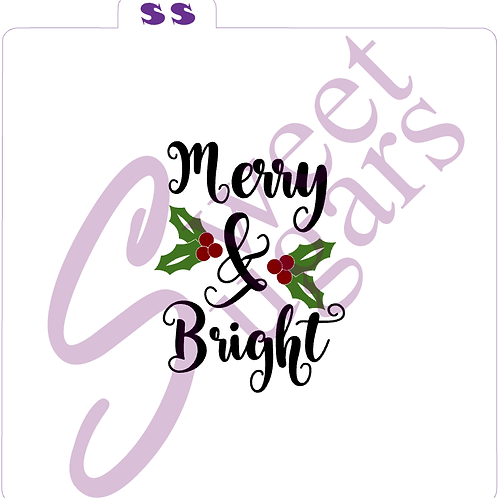 Merry & Bright with Holly 3 piece Silkscreen Stencil