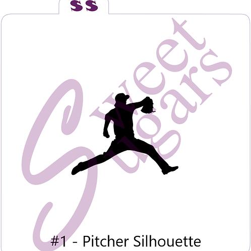 Baseball Pitcher Silhouette Silkscreen Stencil