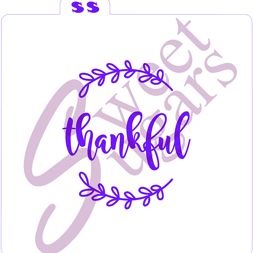 Thankful with Top/Bottom Wreath Silkscreen Stencil (1 or 2 part)