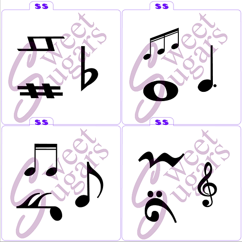 Music Symbols Silkscreen Stencils 4 pk Bundle