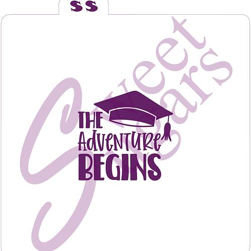 (WS) The Adventure Begins Graduation Silkscreen Stencil